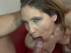 Naughty German housewife catches her boyfriend masturbating and starts playing along