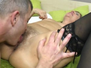 Hairy mature slut sucking and fucking