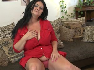 Horny mature lady with huge natural tits playing with herself