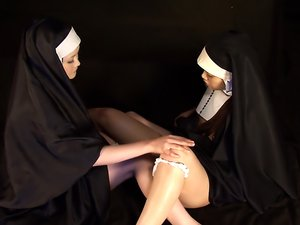 Lesbian action with freaky Japanese nuns