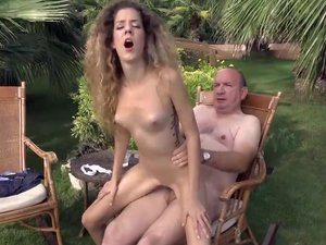 Beautiful Monique sucks bulky old dong outdoor