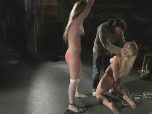 Two sweet and hot blonde girls rough pained in bdsm with watchers