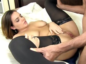 Busty Brunette Babe Ridings Her Man's Hard Prick