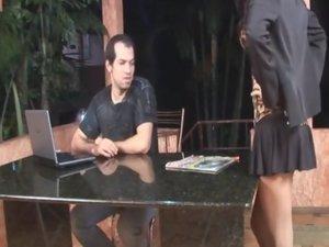 Luana and Bela shemale pantyhosefucked on video